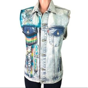 Levi's custom denim vest boho jacket women's sz L